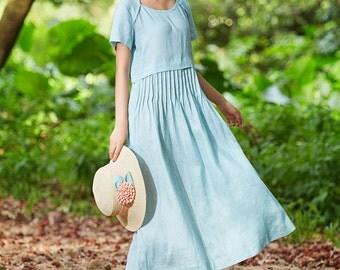 tunic dress, maxi linen dress, pale blue dress, linen sundress, bridesmaid dress, day dress. cocktail dress, prom dress, long linen dress