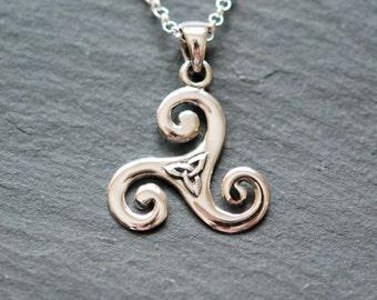 Triskele necklace, sterling silver ninja pendant, celtic triskele, ninja jewelry, triskelion, triquetra, talisman, star, simple necklace