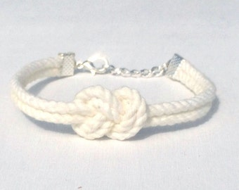 White Infinity Nautical Rope Bracelet Figure Eight Knot Bracelet Tie the Knot Bracelet Bridesmaid Gift Wedding Favor Tying the Knot