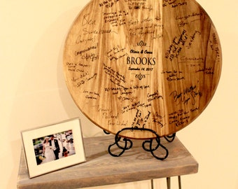 Wedding Signature Wine Barrel Guest Book - Iron Stand - Wedding Signature Board - Free Engraving