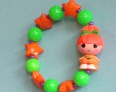 Pumpkin Candle Light - Lalaloopsy Halloween Girl Doll Stretch Bracelet with Orange Stars and Green and Puprle Beads