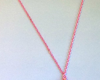 Magic Moon - Bright Pink Starry Crescent Pendant with Heart Jewel