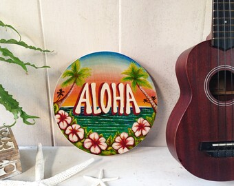 Aloha Circle –vintage style tropical Hawaiian wood sign wall decor