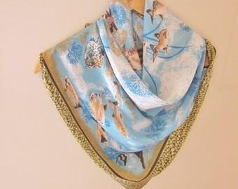 Silk scarf, vintage silk scarves, marine silk scarf, underwater scarf, square silk scarf, fish scarf, aqua scarf, coral reef