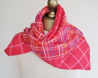 ADOLFO silk scarf, square silk scarf, red silk scarf, American scarves, 1970s fashion, 70s silk scarf, check scarf, raspberry silk