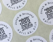 """Wedding favor labels, personalized stickers.  1.5"""" round stickers, set of 30.  Matte white or Kraft brown. Jam Packed with Love."""
