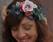 Boho Eucalyptus Flower Crown // Bohemian Rose Blue Beaded Dried Flower Crown << Briar Rose >> // Ready to Ship >>