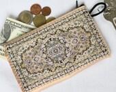 Powder pink purse, Floral wallet, Women purse wallet, Zipper coin purse, Travel purse, Floral coin purse, Powder pink flower pouch