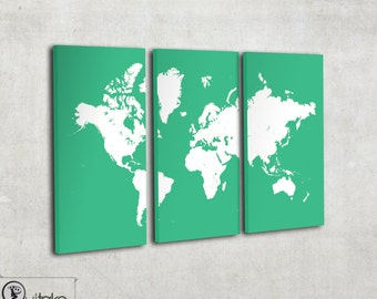 World map canvas art - world map art - Custom colors - Large home decor on 3 panels Ready to hang on the wall