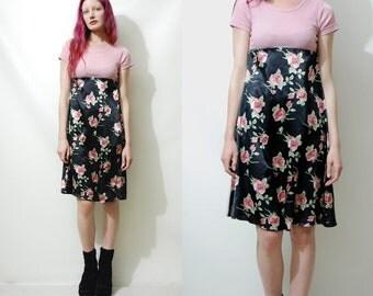 90s Vintage FLORAL SATIN Dress Babydoll Black Pastel Pink Shiny Silky Mid-length Ribbed T-shirt Dress Boho Grunge 1990s vtg XXS