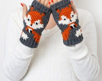 Fox Handwarmer/Fingerless Gloves Crochet Pattern