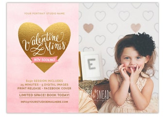 Valentine's Day Mini Session Template, Valentine's Mini Session Marketing Board, Photography Marketing Templates AD174