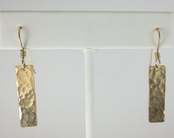 Hand Hammered Texture #6 Earrings in Sterling Silver or 14k Gold Fill - Hand Cut Earrings - Sheet Metal Earrings - Dangle Earrings