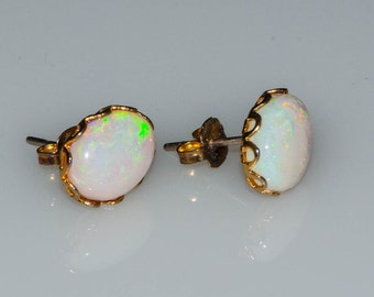 Vintage Natural Opal Oval Cabochon Stud Earrings 10mm x 8mm Surgical Steel Posts