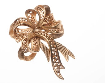 Vintage Oscar de la Renta Big Ribbon Bow Brooch Pin Satin Gold Tone