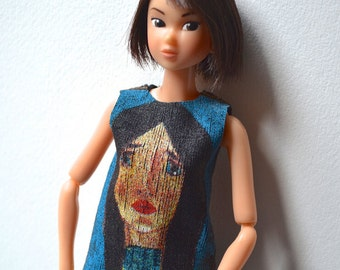 SPECIAL OFFER ! Momoko Doll Top - Momoko Doll Outfit - Tee-Shirt - Blue - Portrait - Handmade