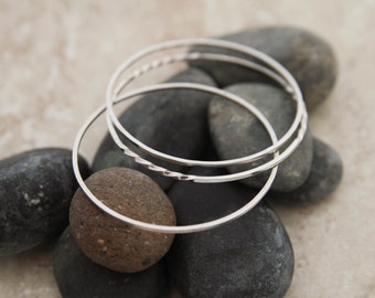 With a Twist Sterling Silver Bangle Bracelet Set
