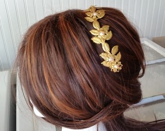 GILDED LEAVES HEADBAND Assemblage Bride Bridesmaids Hair Accessories Champagne Aurora Borealis Victorian Rustic Chic Fall Wedding Nature