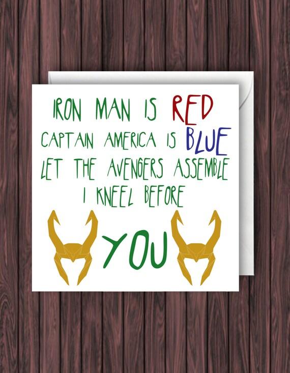 Kneel Before Loki Loki Birthday Card Avengers Card Thor