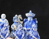 Asian Chess Set, Resin Chest Set, Red and Blue Chess Set, Travel Chess Set, Game