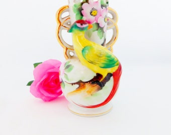 Occupied Japan Vase,  with Floral and Quetzal, Gold Gilding, Vintage Flower Vase