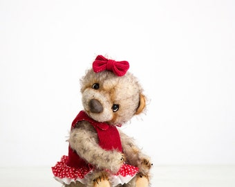 Artist Teddy bear Silva + FREE shipping - Collectible Mohair Teddy bears - OOAK jointed teddy bear