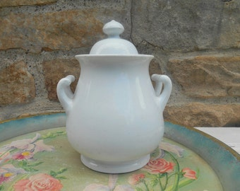 Antique White Ironstone Sugar Bowl with Lid: Furnival and Co. England Iron Stone China Ornate Handles