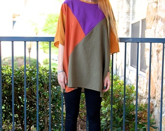 Vintage Colorblock Oversized Tunic Boxy Blouse Top // Women's OS
