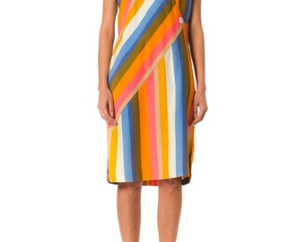 1960s MOD Geometric Striped Colorful Sleeveless Dress