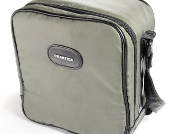 Large Sturdy Praktica Original Vintage 1980's Grey SLR Camera Case Shoulder Bag