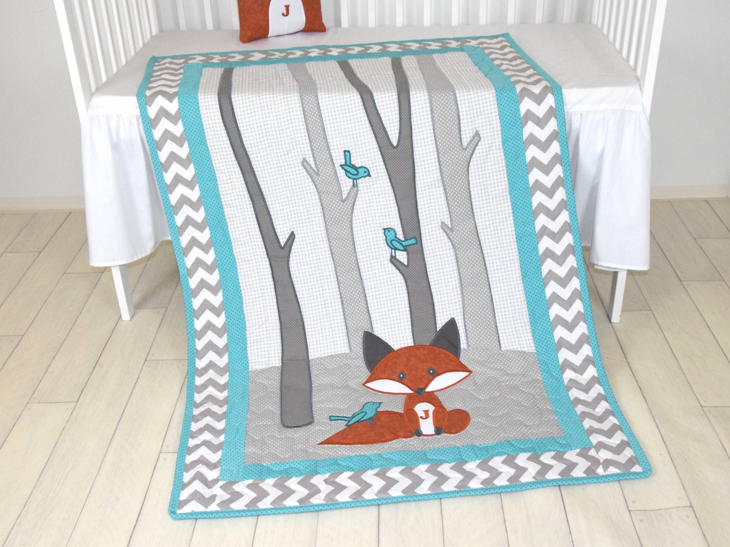 Fox Blanket Teal Chevron Gray Nursery Baby Boy Quilt