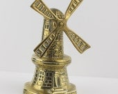 Brass Dutch Windmill Ornament Paper Weight Tower Stage Style with Moving Sails