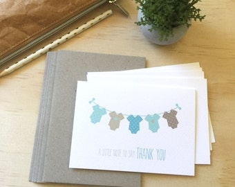 Thank You Baby Boy Card Pack - Boys Clothes - Set of 5 Cards - 5P002 - Baby Shower Thank You / Baby Boy Thank You Cards / Greeting Cards