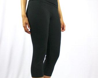 Black Yoga Pants -  Simple Cotton Spandex Capri - 'Nava' Yoga Pants - Yoga Clothes Leggings - Spandex Leggings - Spandex Pants