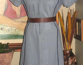 Plus Size Vintage Navy Checkered Dress, 1960-70, XXL, 18-20, Retro Fashion, Antique Alchemy