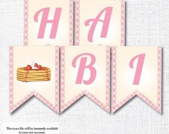 PINK PANCAKE happy birthday pennant banner pancake and pajamas instant digital download diy printable file pancake and pjs