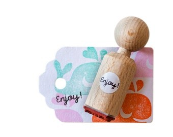 Enjoy! mini Stamp, made with red rubber
