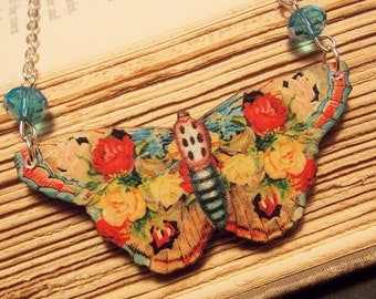 Pink and Blue Wooden Butterfly Necklace