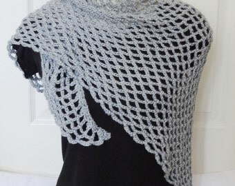 Sale Crochet Shawl - 25% Off - Crochet Lacy Shawlette/Neckerchief/Triangle Shawl/Short Shawl in Sparkle Grey - Ready to Ship