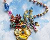 Vintage Enamel Rhinestone Parrot Pansy Flower Brooch Necklace