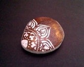Henna boho inspired hand painted desk stone garden accessory