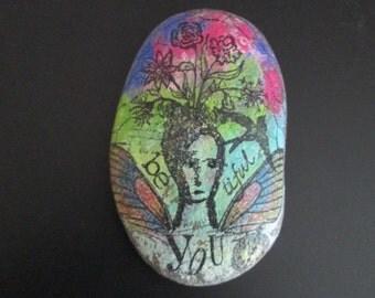 Inspirational rock mixed media hand painted secret message stone Beautiful home decor