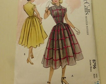Vintage McCalls Pattern 8796 Junior Dress Size 13  Uncut   Bust 31 Inches