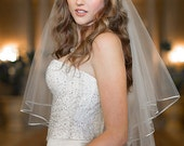 Two Tier Fingertip Oval Gold Cord Edge Bridal Veil Wedding Accessory