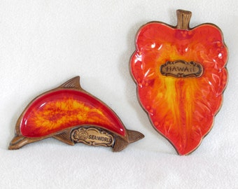 Pair of Treasurecraft Dishes - Firey - Red Hot - Leaf and Dolphin - Hawaii and Sea World Souvenirs - Colorful 1969 Vintage Home Decor