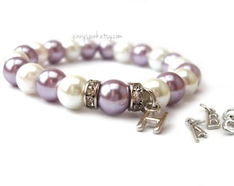 Purple and White Pearl Princess Bracelet - Elastic Bracelet