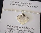 Aspen Leaf Bridesmaid Gift, Real Leaf Bracelet, White Pearl Bracelet, Sterling Silver Bracelet, Thank You Card, Bridesmaid Bracelet
