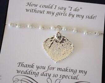5 Aspen Leaf Bridesmaid Bracelets, Real Leaf Bracelet, White Pearl Bracelet, Sterling Silver Bracelet, Thank You Card, Bridesmaid Gift