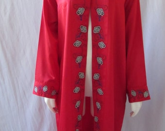 Long Asian Inspired lightweight coat /Robe high fashion Red Frog Button top over coat