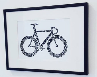 "Track Bike Art Print. Fixie Wall Art A5 (8.3"" x 5.8"")"